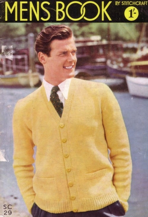 A young Roger Moore models a yellow cardigan for a mens fashion magazine called Men's book