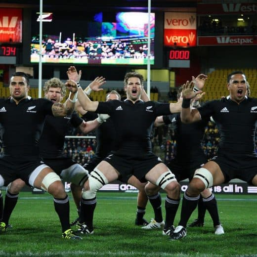 The New Zealand All Blacks performing their pre match ritual of th Haka