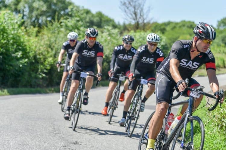 Five cyclists take a corner during Bristol's Great Western Ride