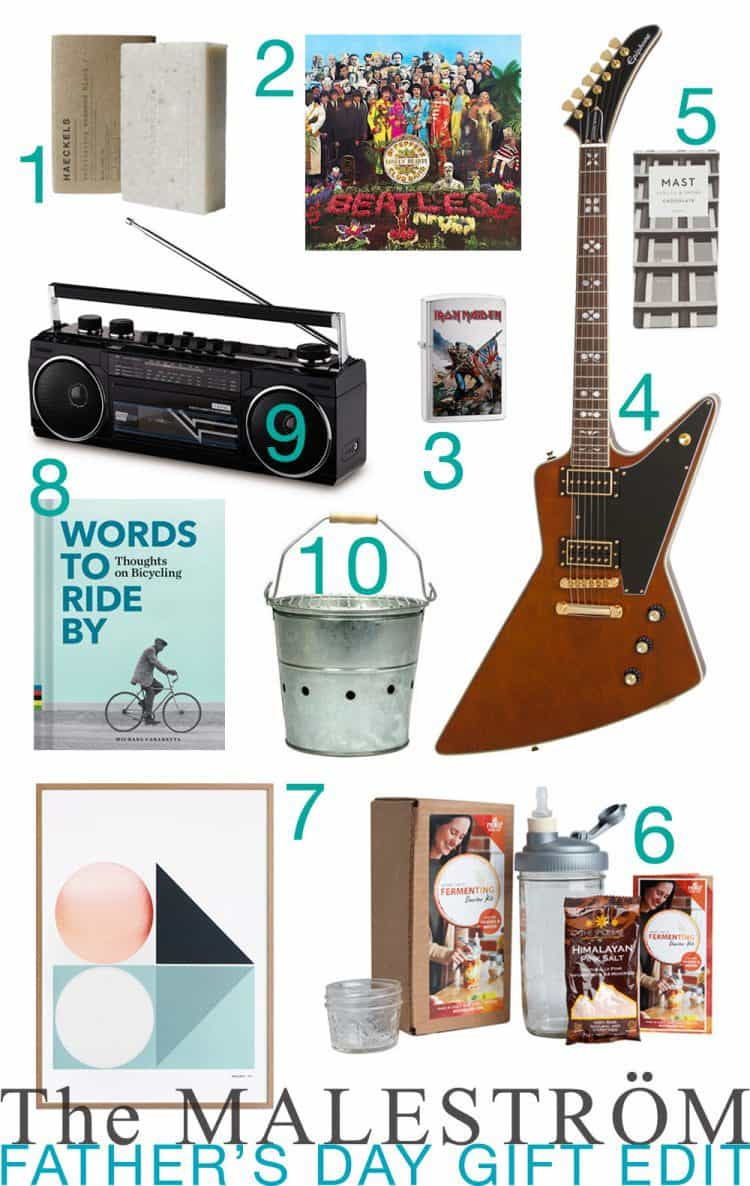 A montage of Father's Day gift ideas