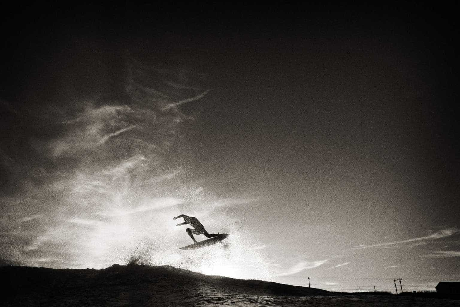 Surfing image from book Legends of the sandbar by surf photographer chris bickford