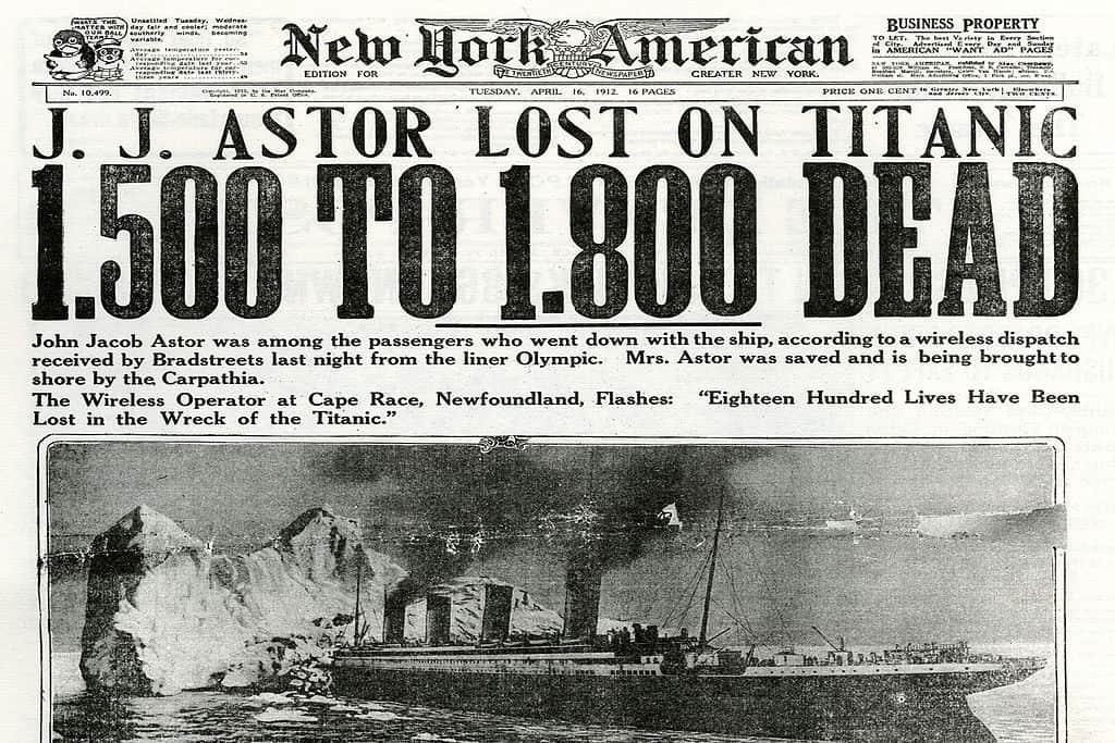 Newspaper headline about The Titanic sinking