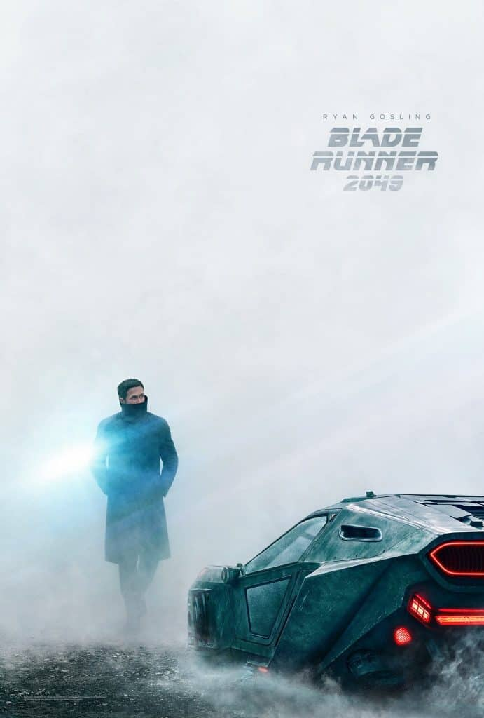 Blade Runner 2049 Poster with Ryan Gosling next to a futuristic car
