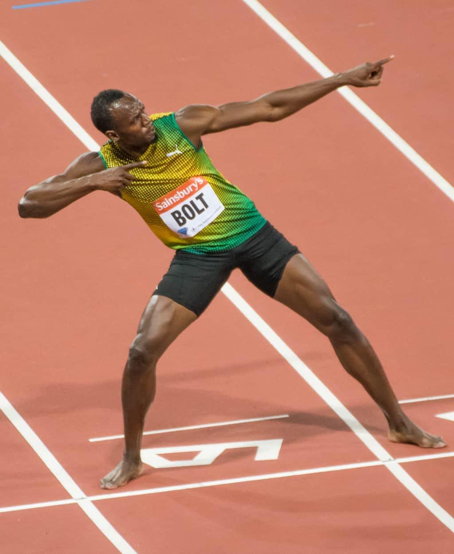Usain Bolt striking the famous lightning bolt pose