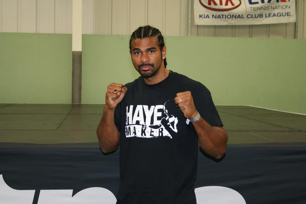 David Haye posing with fists in the air