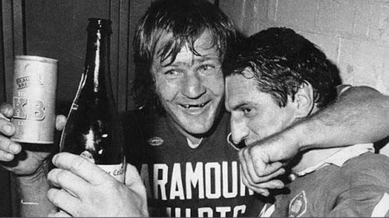 Tommy Raudonikis celebrates with beer