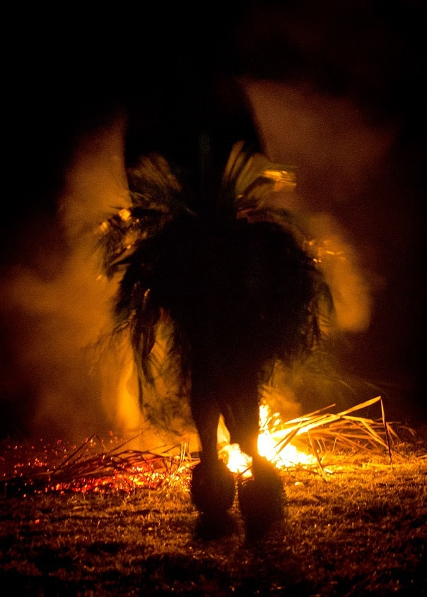 A San Bushman dances round a fire