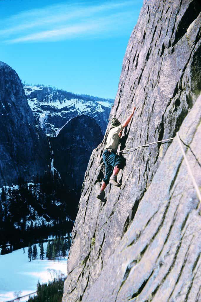 Willi Undoeld climbing El Capitan in 1952
