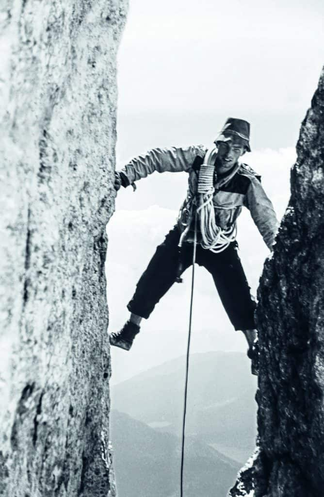 Karl Lugmayer leading a pitch on the northeast face of the Preussturm. Taken by Allen Steck