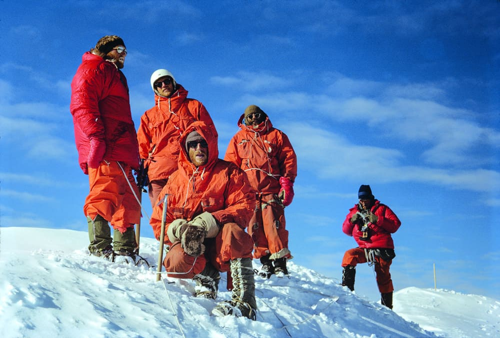 Summit party at the top of Mount Logan after the first ascent of the Hummingbird Ridge. Taken by Allen Steck