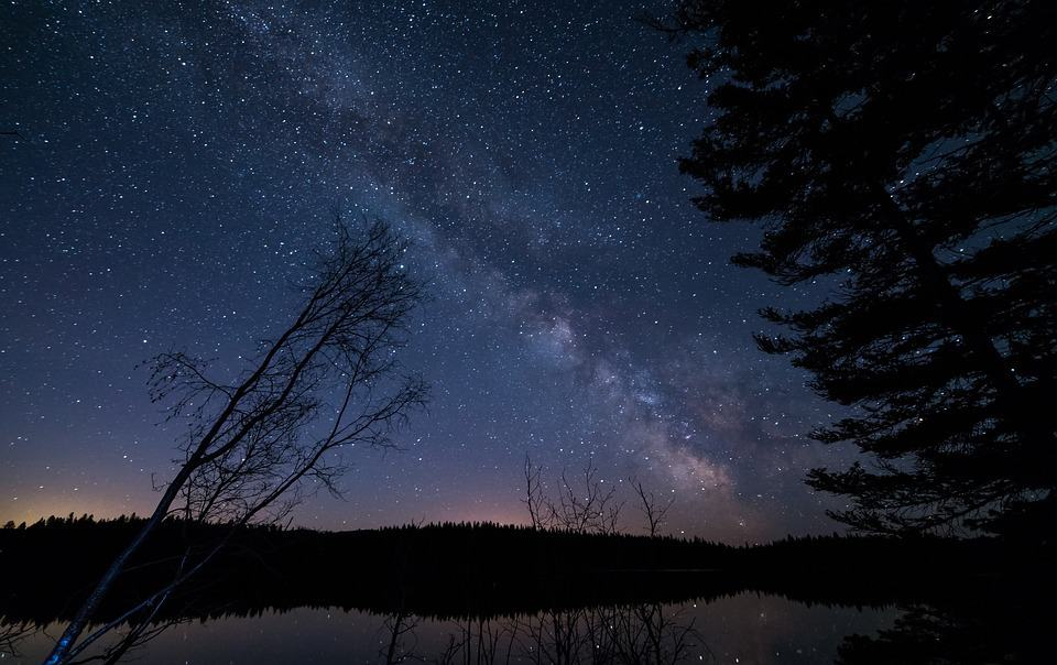 A nighttime sky in the wilderness