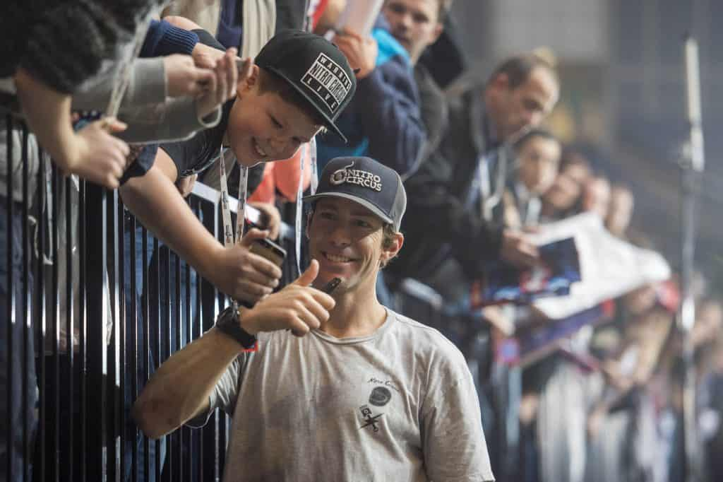 travis Pastrana taking a selfie with a Fan at the Nitro show in London, 2016