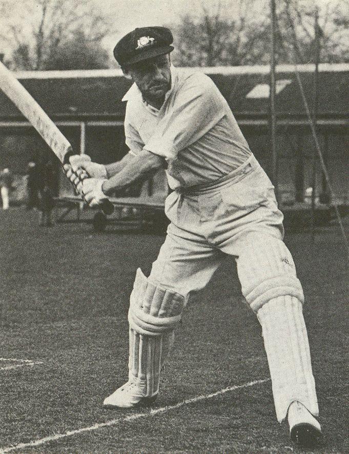 Sir Donald Bradman swinging his bat