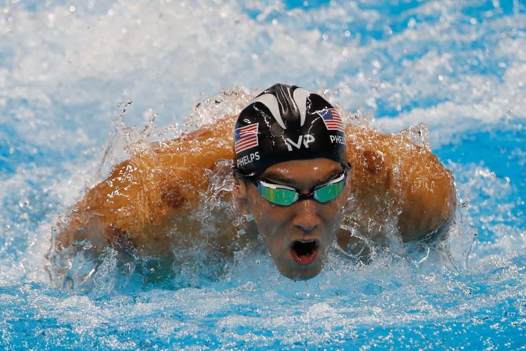 Michael Phelps in the pool at the Rio Olympics