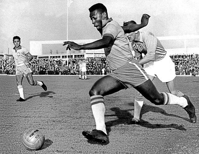 A shot of Pele in action on the pitch