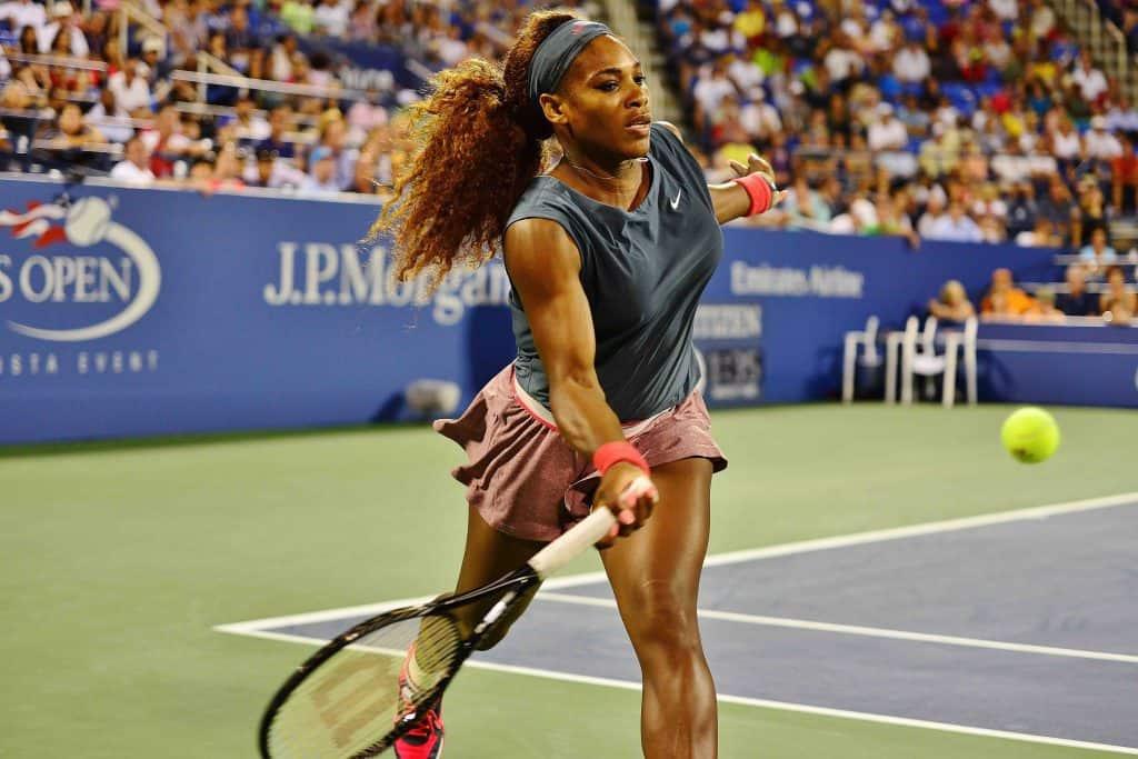 Serena Williams hitting a shot at the U.S. Open