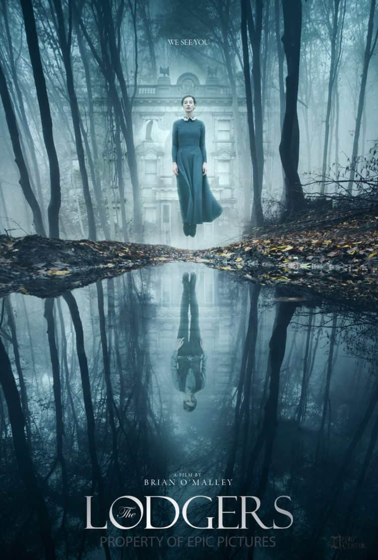 A ghostly figure of a woman hovers above a lake