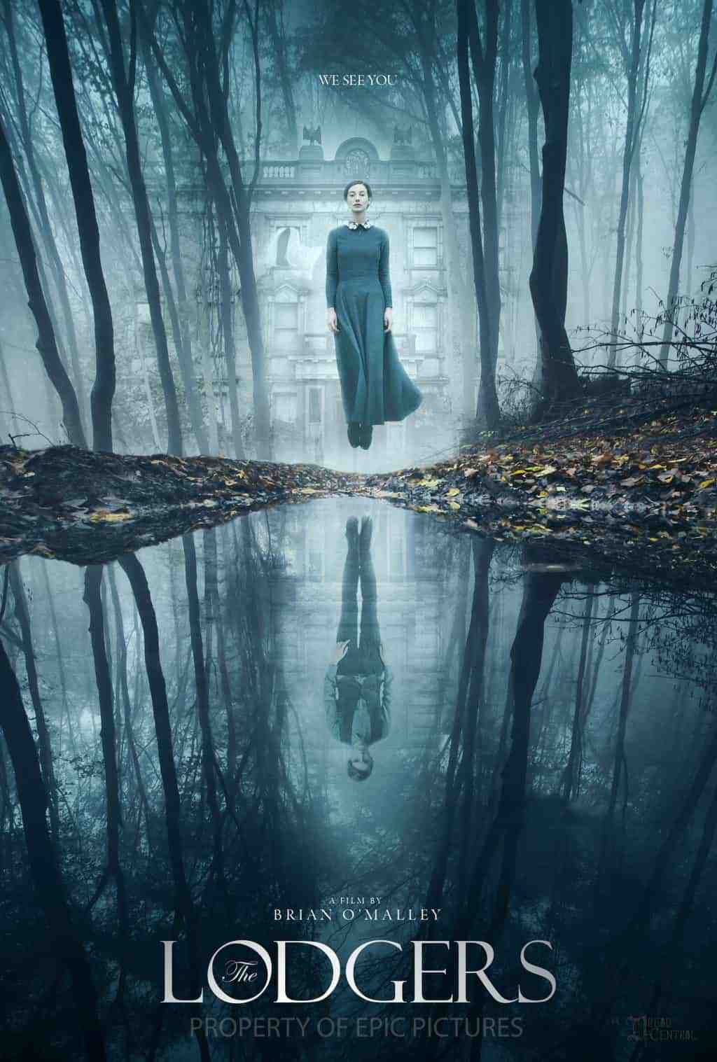 A ghostly figure of a woman hovers above a lake from film The Lodgers filmed at Loftus Hall