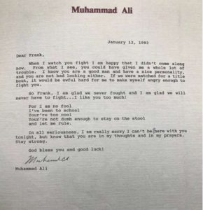 A letter addressed to Frank Bruno from Muhammed Ali
