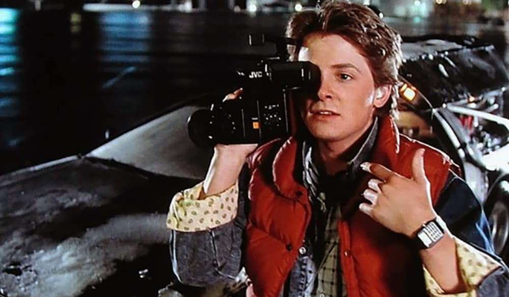 Marty McFly using a video camera