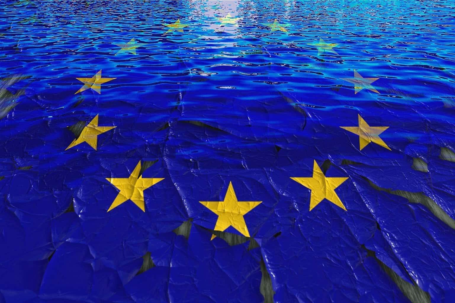 An image of a tattered EU flag