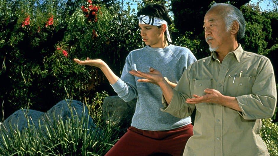 Mr Miyagi demonstrating Karate to Daniel