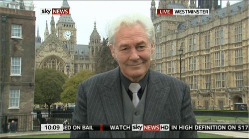 Peter Spencer reporting for Sky News outside the Houses of Parliament