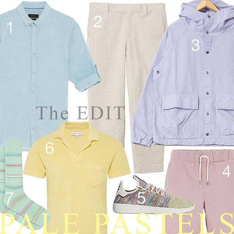 A selection of pale pastel coloured clothing items for men