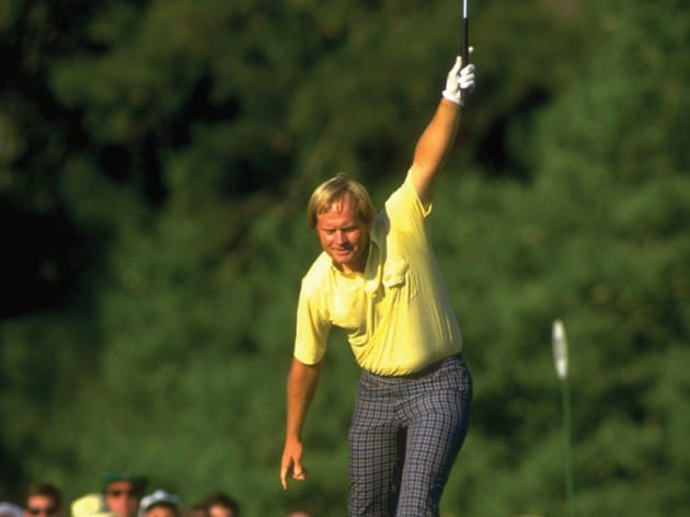 Jack Nicklaus willing a putt to go in