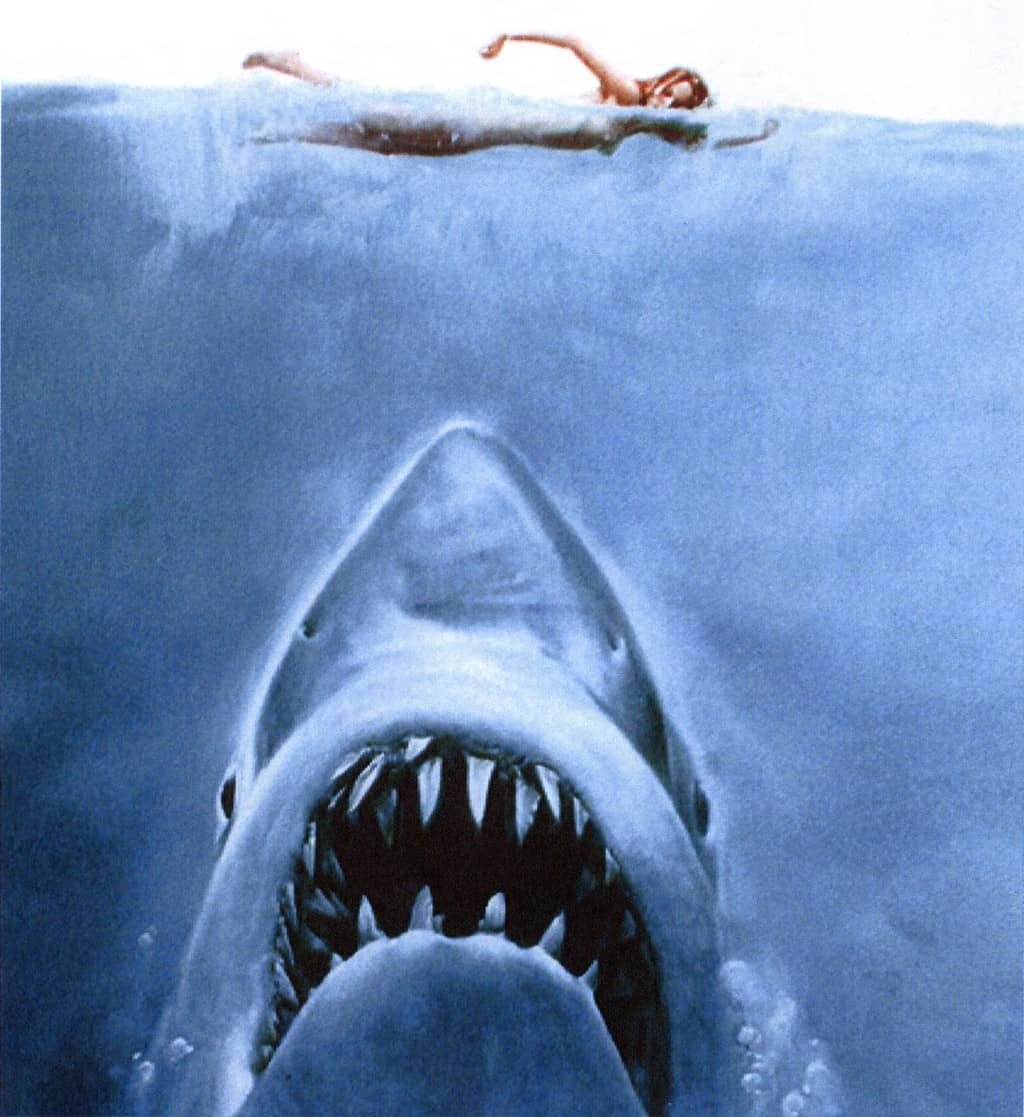 Poster fro Jaws one of the best shark movies