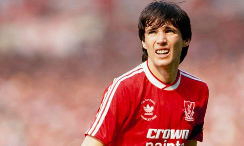 Mid shot of Alan Hansen playing for Liverpool in the 80s