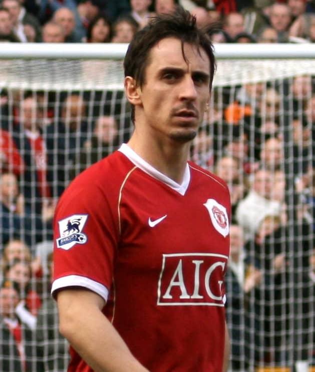 Gary Neville playing for Man U