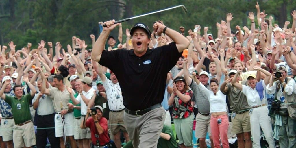 Phil Mickelson celebrates victory