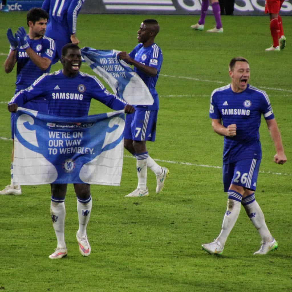 John Terry celebrating in a Chelsea shirt