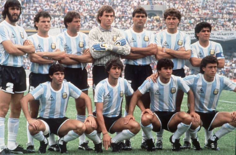 Argentina pose for a pre match photo in their iconic 1986 kit