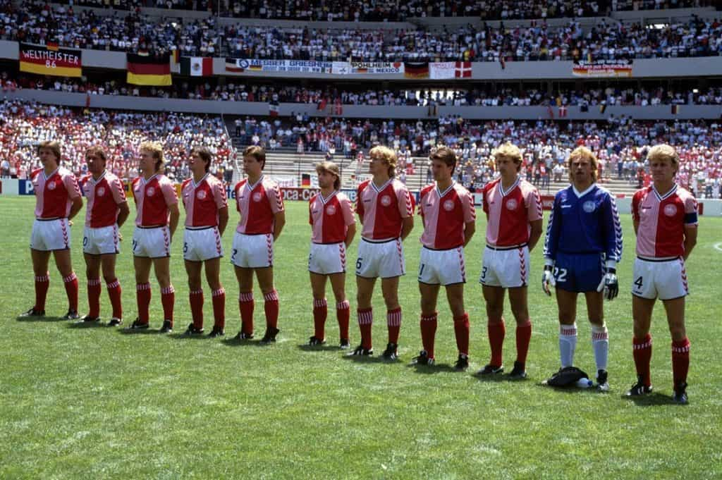Denmark lineup pre match in their iconic 1986 kit