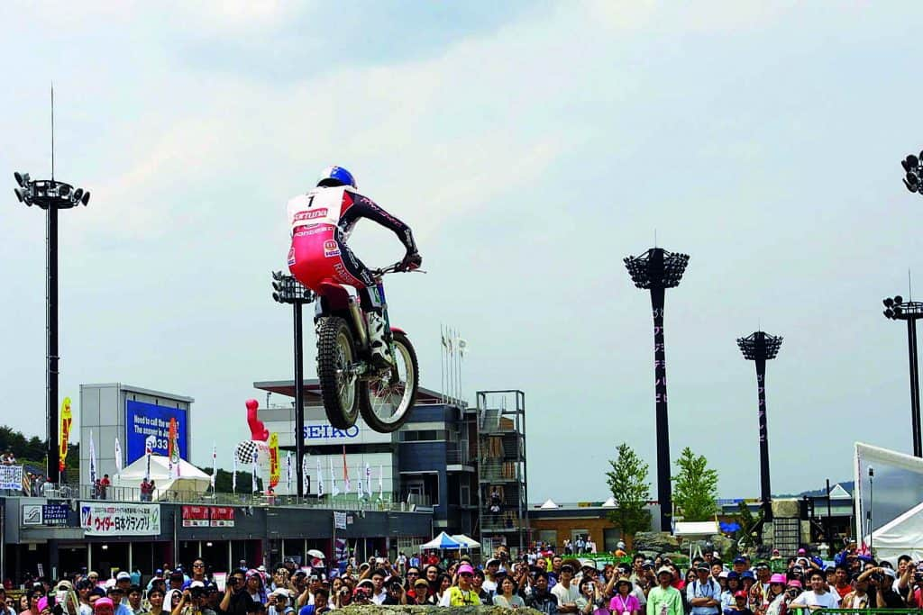 Dougie Lampkin in flight