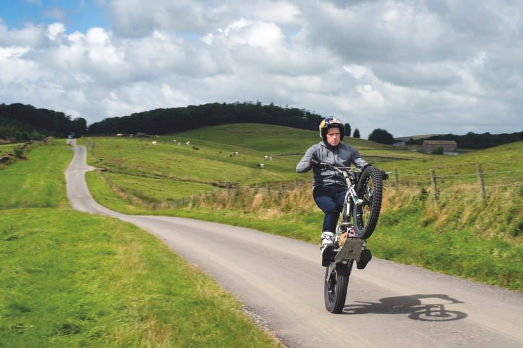 Dougie Lampkin doing a wheelie