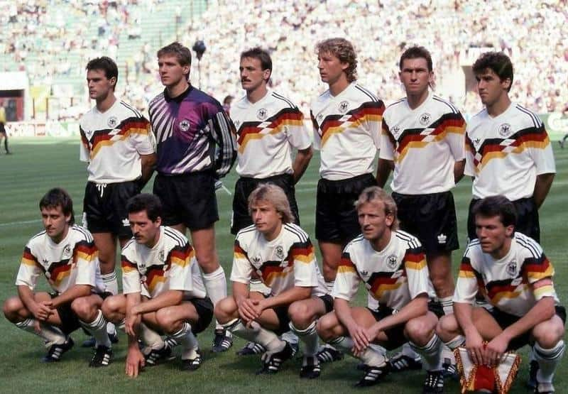 West Germany lineup for a photo pre match in their iconic 1990 kit
