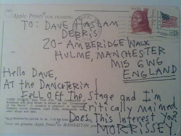 Morrissey's postcard to Dave Haslam