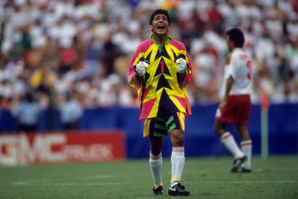 Mexican goalkeeper Jorge Campos celebrates a goal in his famous 1994 kit