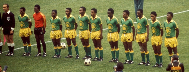 Zaire line up on the pitch in their iconic 1974 kit