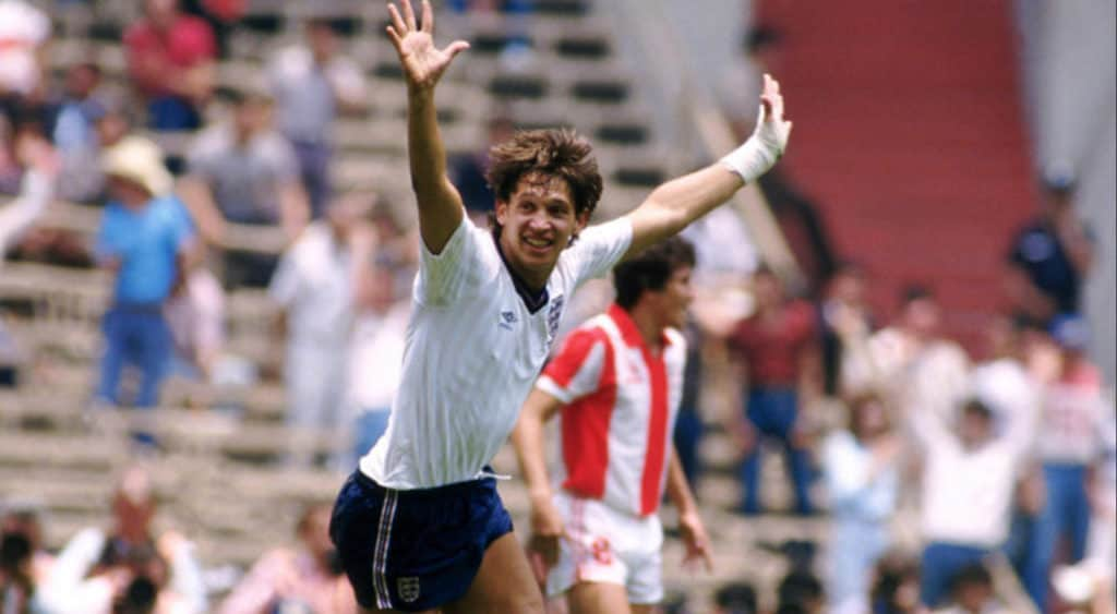 Golden Boot winner Gary Lineker celebrates scoring in the 1986 World Cup