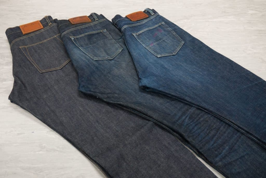 Three pairs of Blackhorse Lane jeans laid out