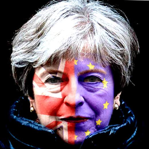 Theresa May with half EU flag / half Union Jack on her face