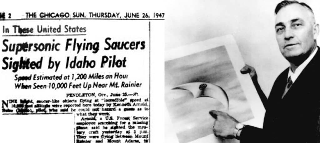 Kenneth Arnold with a drawing of his UFO sighting