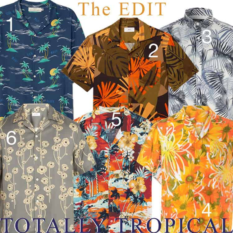 A selection of tropical Hawaiian shirts
