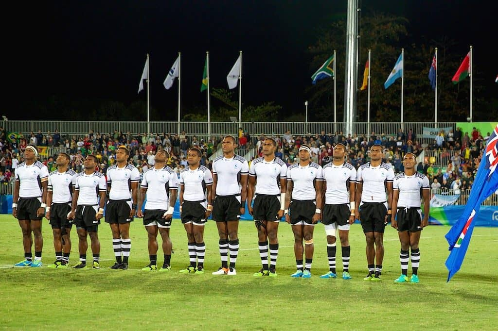The Fiji 7s squad line up on the pitch