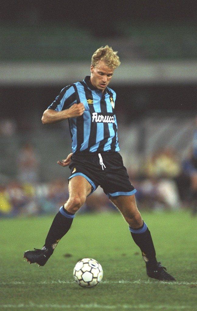 Dennis Bergkamp in the classic Fiorucci Inter Milan kit