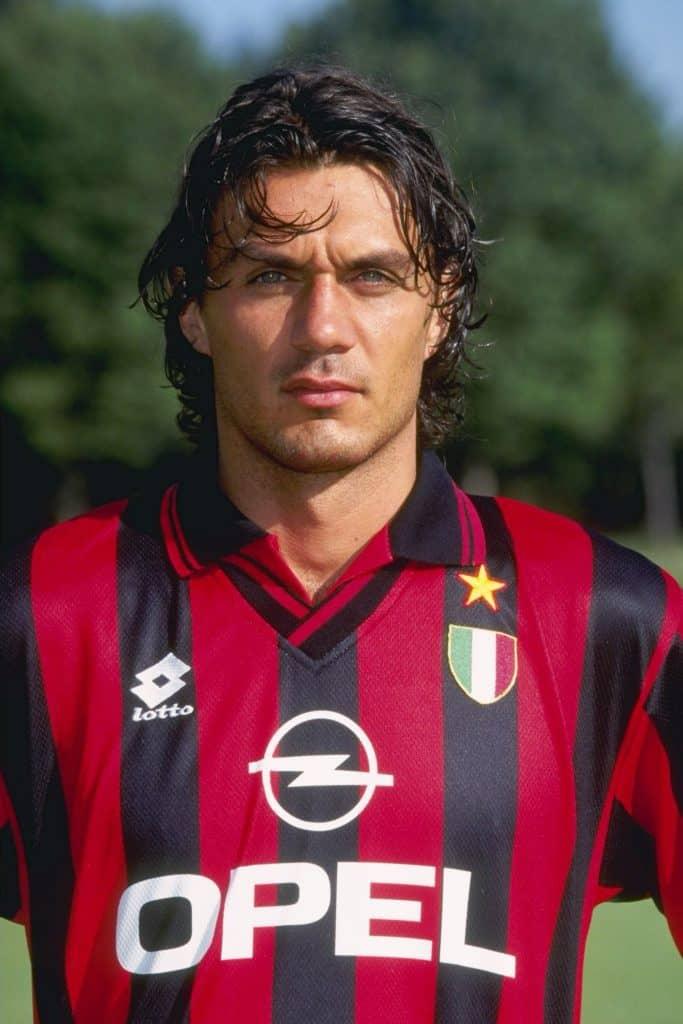 Paolo Maldini in the 1996 Ac Milan home shirt OPEL sponsor